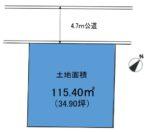 土地面積:115.4㎡(34.90坪)(区画図)