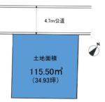 土地面積:150.5㎡(34.93坪)(区画図)