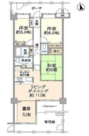 3LDK+書斎+専用庭(間取)