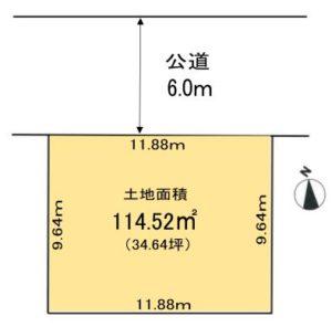 土地面積:114.52㎡(34.64坪)(区画図)