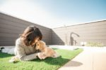 【屋上庭園の楽しみ方】愛犬と遊ぶ屋上空間。リード無しで自由に走り回れます。(屋上)