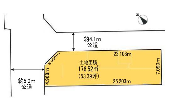土地面積:実測176.52㎡(53.39坪)