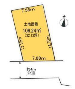 土地面積:106.24㎡(32.13坪)(区画図)