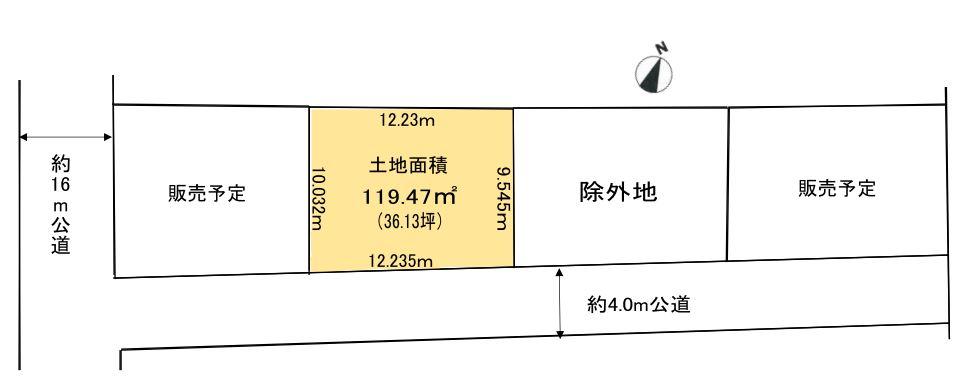 【区画図】土地面積:119.47㎡(36.13坪)※全3区画のうち②区画販売中