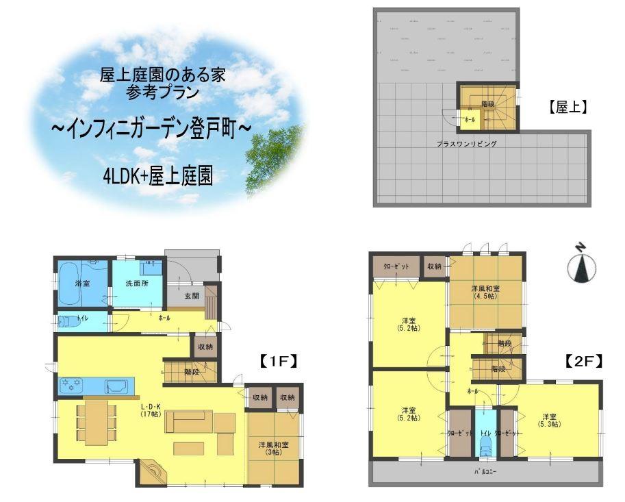 【屋上庭園のある家・参考プラン】4LDK+屋上庭園(間取)