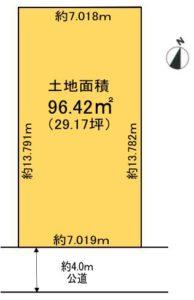土地面積:96.42㎡(約29.17坪)(区画図)